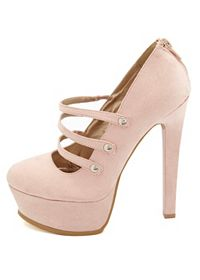 Qupid Triple Mary Jane Platform Pumps