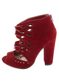 Qupid Laser Cut-Out Lace-Up Chunky Heels