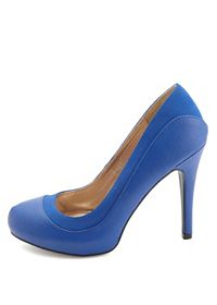 Qupid Textured Two-Tone Pumps