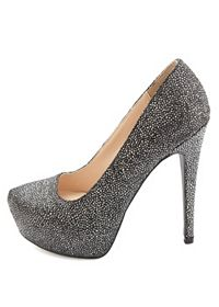 Qupid Druzy Textured Metallic Platform Pumps