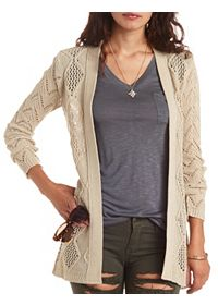 Open Front Pointelle Cardigan Sweater
