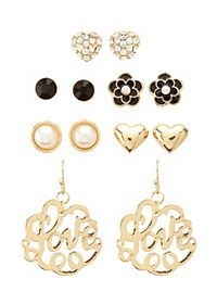 Flower & Love Earrings - 6 Pack
