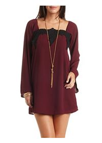 Pointed Lace & Chiffon Bell Sleeve Shift Dress