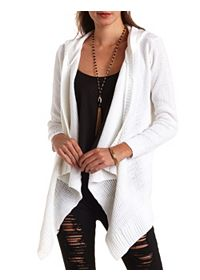 Mixed Stitch Hooded Cascade Cardigan Sweater