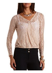 Long Sleeve Lace Wrap Top