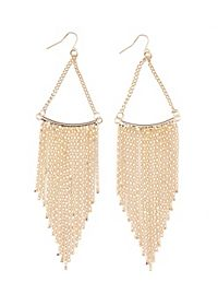 Gold Chain Fringe Earrings