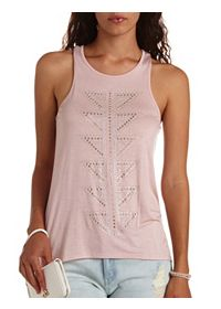 Geo-Rhinestone Embellished High-Low Tank Top