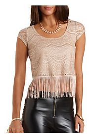 Sparkle Lace Fringe Crop Top