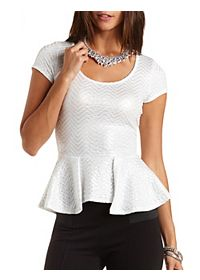 Metallic Sparkle Peplum Top
