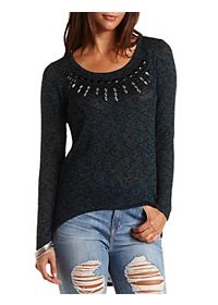 Jeweled High-Low Tunic Top