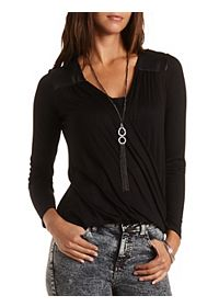Faux Leather Yoke Wrap Top