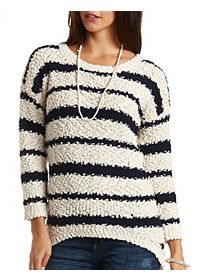 Popcorn Knit High-Low Tunic Sweater