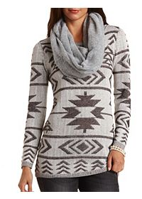 Tribal Stitch Tunic Sweater