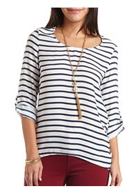 Striped Chiffon High-Low Tunic Top
