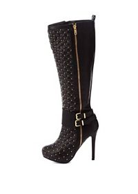 Studded & Quilted Knee-High Stiletto Boots