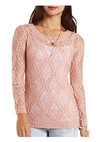 Slub Pointelle Tunic Sweater