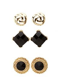 Baroque Button Earrings - 3 Pack