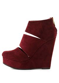 Slit Platform Wedge Booties