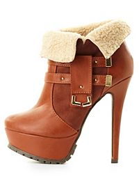 Shearling-Cuffed High Heel Booties
