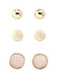 Ball & Pave Stone Stud Earrings - 3 Pack