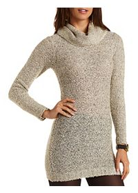 Cowl Neck Boucle Sweater Dress