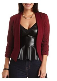 Textured Open Front Cropped Blazer