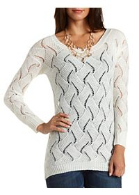 Fuzzy Open Knit Tunic Sweater
