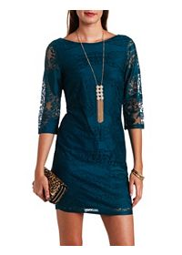 Three-Quarter Sleeve Bodycon Lace Dress