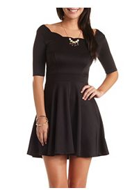 Scalloped Boat Neck Skater Dress