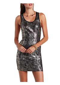 Foiled Metallic Racerback Bodycon Dress