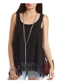 Lace Trim Chiffon Tank Top