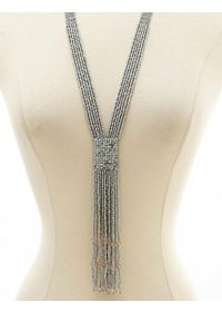 Metallic Seed Bead Fringe Necklace