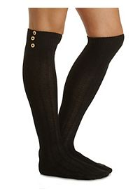Button-Topped Over-the-Knee Socks