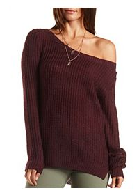 High-Low Off-the-Shoulder Tunic Sweater