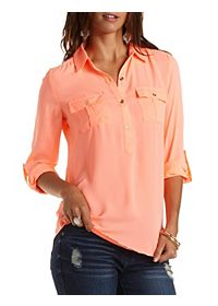 Neon Button-Up Chiffon Tunic Top