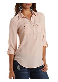 Button-Up Chiffon Tunic Top