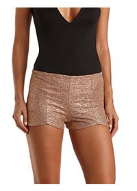 Metallic Scalloped High-Waisted Shorts