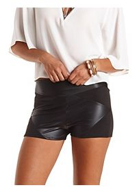 Paneled Faux Leather Shorts