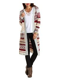 Marled Striped Duster Cardigan