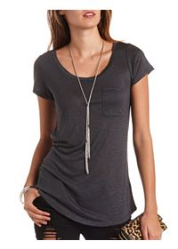 Slub Scoop Neck Boyfriend Pocket Tee