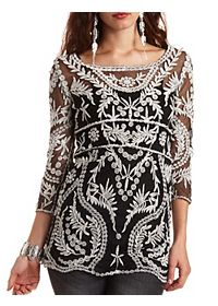 Embroidered Mesh Shift Dress