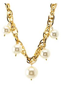 Jumbo Pearl & Chain Statement Necklace