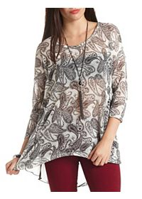 Paisley Chiffon & Sweater Knit Layered Top