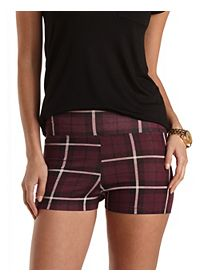 Stretchy Plaid Print Bike Shorts
