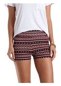 Stretchy Tribal Print Bike Shorts