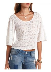 Lace Angel Sleeve Swing Crop Top