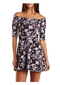 Printed Off-the-Shoulder Skater Dress