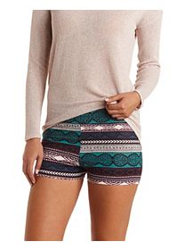 High-Waisted Aztec Bike Shorts