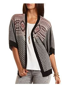Mixed Pattern Short Sleeve Cardigan Sweater