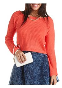 Sheer Open Knit Cropped Sweater